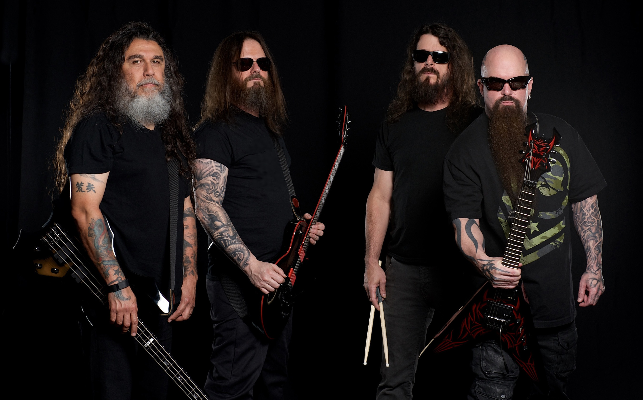 Tom Araya, Gary Holt, Paul Bostaph y Kerry King de Slayr.