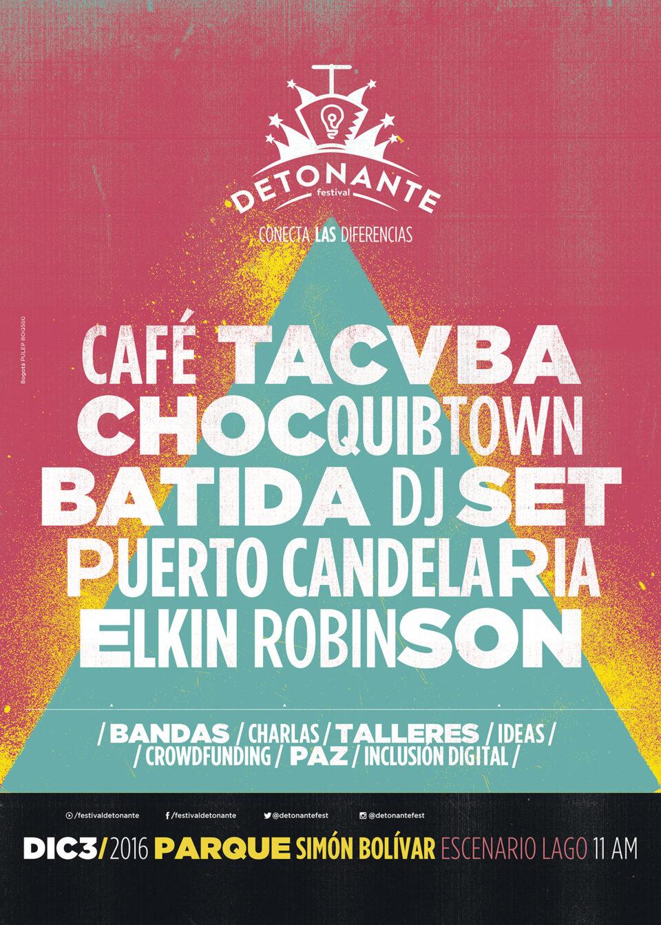 Este es el cartel del Festival Detonante en Bogotá. Foto: Oficial